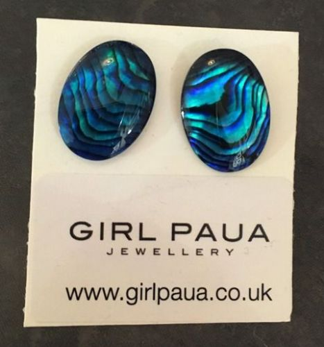Paua Stud Earrings PE04 13x18mm BLUE OVAL (X LARGE)